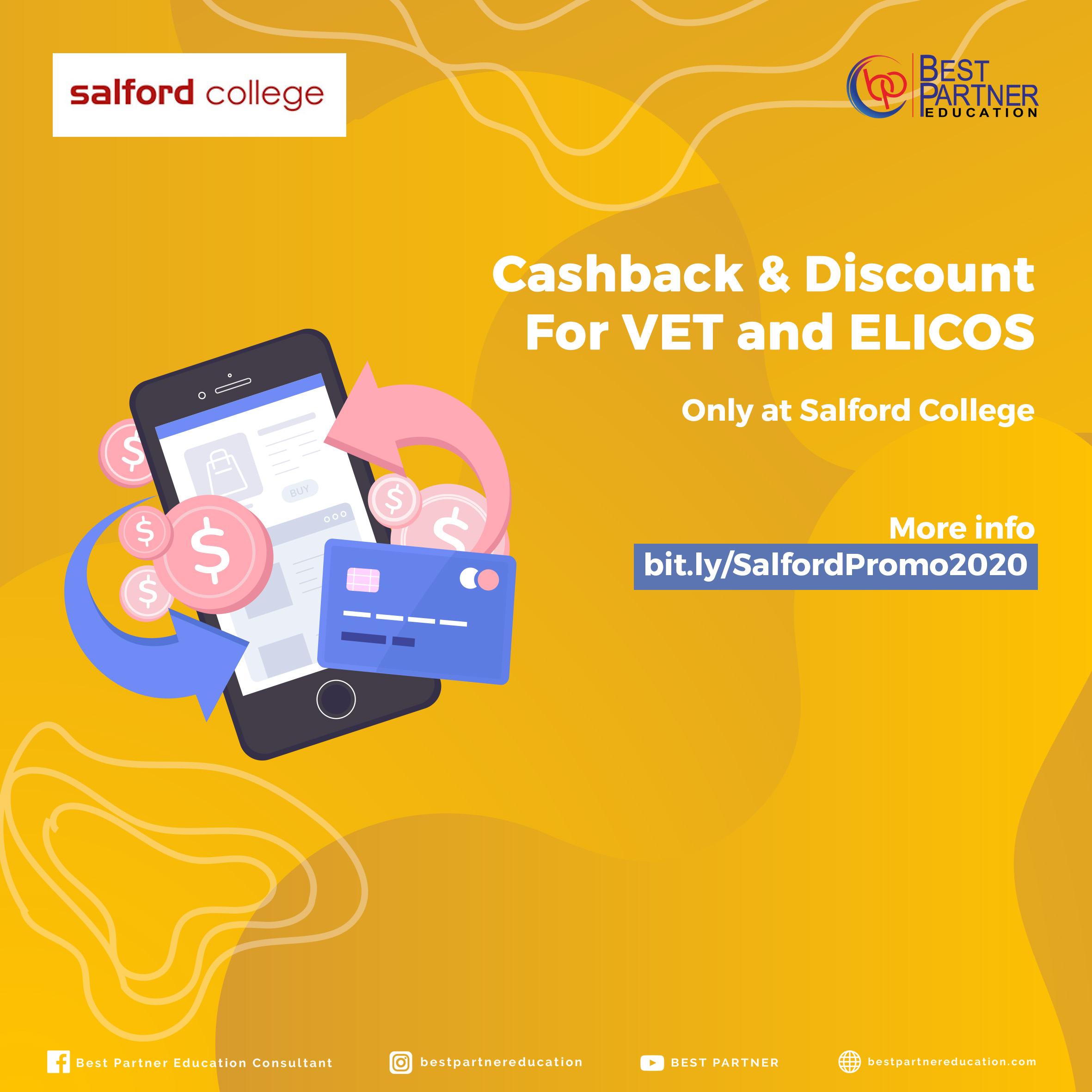 Cashback & Discount  For VET and ELICOS Only at Salford College