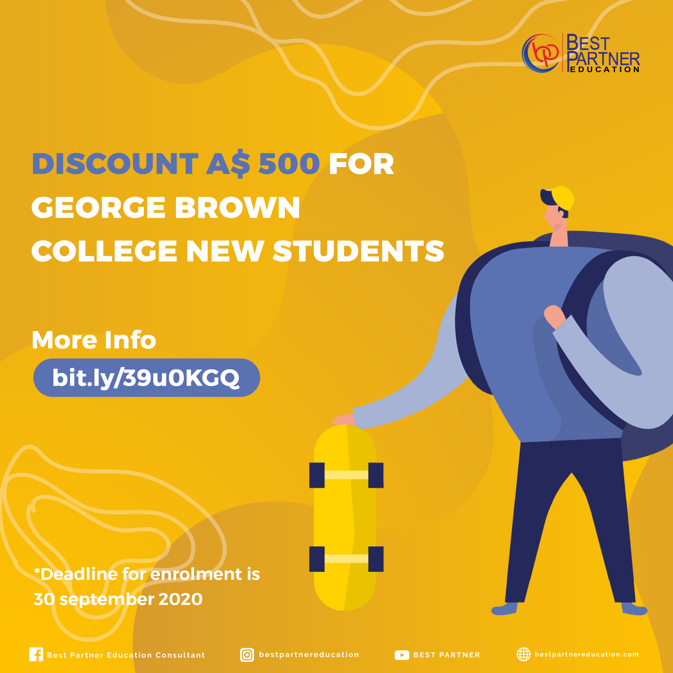 DISCOUNT A$ 500 FOR GEORGE BROWN COLLEGE NEW STUDENTS
